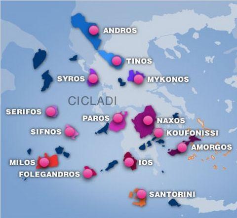 Isole Cicladi Cartina Geografica.Le Cicladi Il Suggestivo Arcipelago Delle Cicladi Rappresenta Una Cartolina A Cielo Aperto Nel Mezzo Del Mare Egeo A Sudest Di Atene Cosi Chiamato Perche Le Sue Circa 200 Isole Delle Quali Solo Una Trentina Sono Abitate Formano Un Cerchio Ideale Intorno A